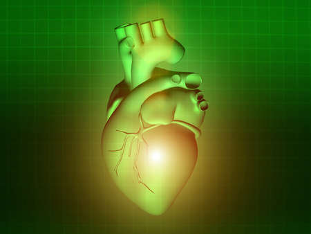 Herzkrankheit: heart disease 3d anatomy illustration health green