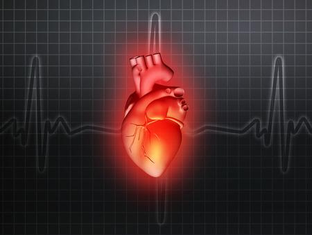 Herzkrankheit: Herzkrankheiten 3d Anatomie Abbildung Gesundheit grau
