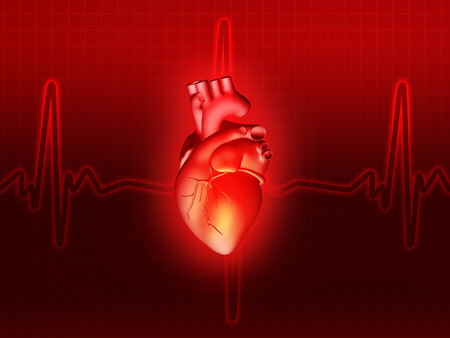 pacemaker: heart disease 3d anatomy illustration health red Stock Photo