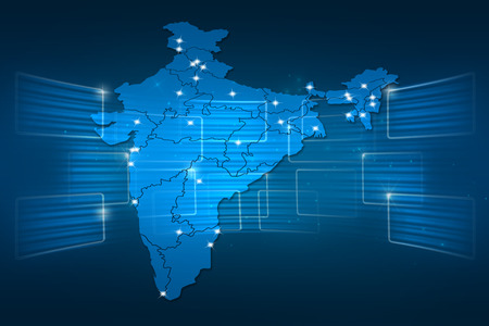 India Map World map News Communication delivery blue