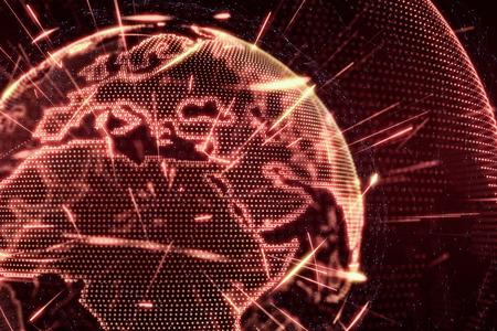 teaser: World News Earth Globe glow shine lines transparent illustration red