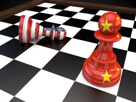 war: USA China Chess geopolitics global politics war currency 3D