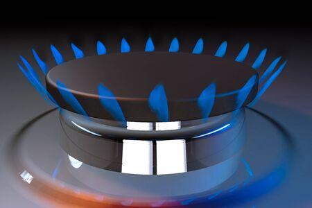 butane: gas blue flame kitchen cook fire butane 3d rendering illustration