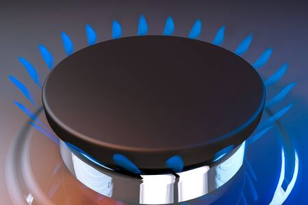 blue flame: gas blue flame kitchen cook fire butane 3d rendering illustration