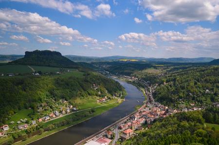 saxony: Landmark from fortress Koenigstein Saxony rock mountain