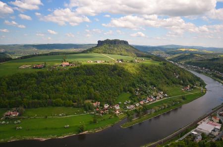 saxony: view elbe saxony germany koenigstein river moutain bastei