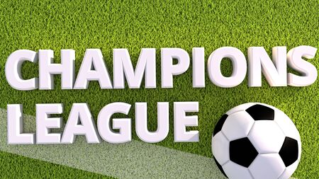 3d render of a soccer ball on a grass pitch champions league Stock Photo