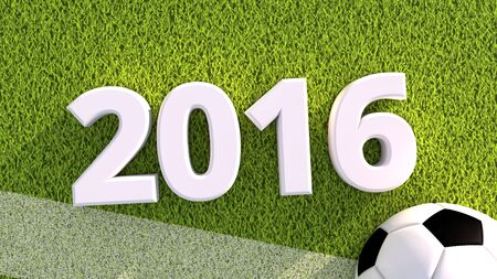 pitch: 3d render of a soccer ball on a grass pitch 2016 Stock Photo