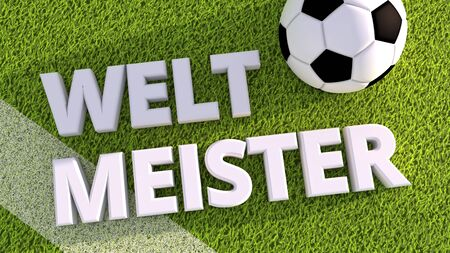 pitch: 3d render of a soccer ball on a grass pitch weltmeister Stock Photo