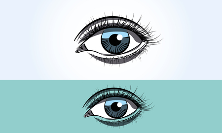 Realistic female eye close up wide open