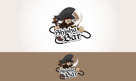 bar lounge: Shisha Bar Logo Pirate smoke Illustration Cartoon lounge