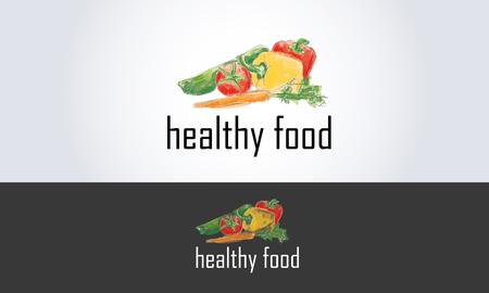 healthy food with hand drawn vegetables illustration