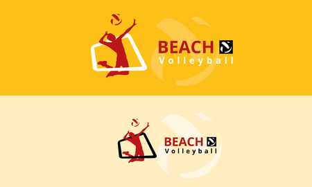 hits: Bouncing a volleyball player hits a ball over a volleyball net beach Illustration