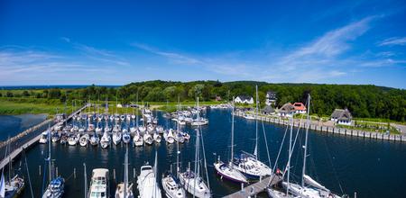 navigational light: Hiddensee Kloster harbor boat sail island summer