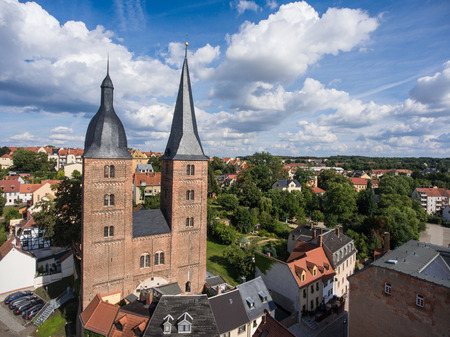 rote: Rote Spitzen Altenburg medieval town red towers old aerial view Stock Photo