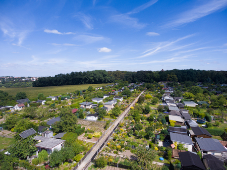 Beautiful view above the earth on landmark down garden houses Stock Photo