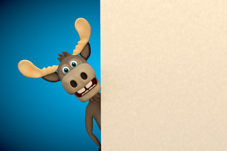 Cute moose cartoon animal zoo forest 3d illustration