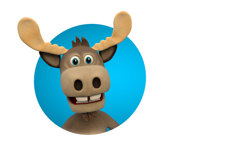 zoological: Cute moose cartoon animal zoo forest 3d illustration