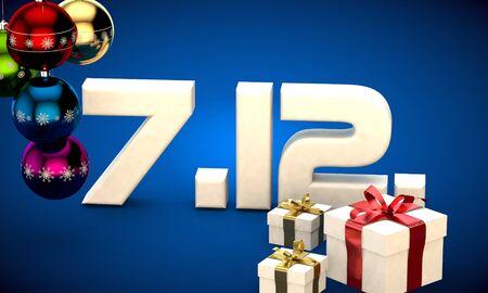 7 12 date calendar gift box christmas tree balls 3d illustration rendering
