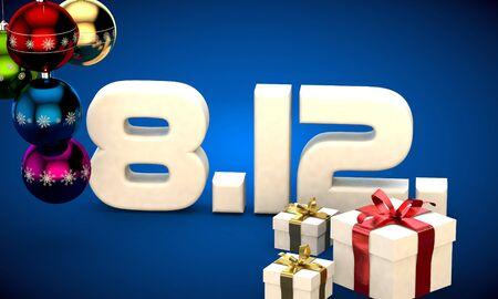 8 12: 8 12 date calendar gift box christmas tree balls 3d illustration rendering