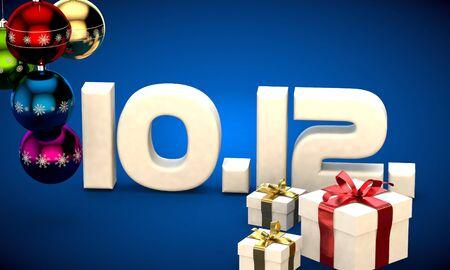 10 12: 10 12 date calendar gift box christmas tree balls 3d illustration rendering