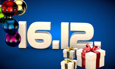newyear: 16 12 date calendar gift box christmas tree balls 3d illustration rendering