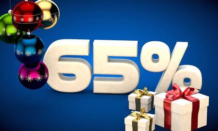 3d illustration of Christmas sale 65 percent discount blue