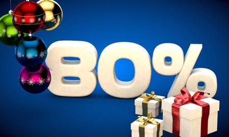 3d illustration of Christmas sale 80 percent discount blue Stock Photo