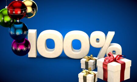3d illustration of Christmas sale 100 percent discount blue