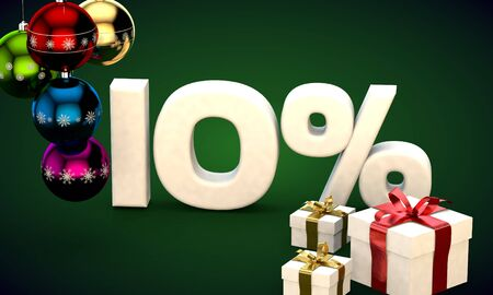 3d illustration of Christmas sale 10 percent discount green Stock Photo