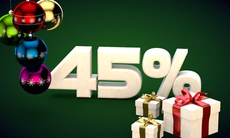 3d illustration of Christmas sale 45 percent discount green