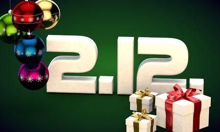 2 12 date calendar gift box christmas tree balls 3d illustration rendering