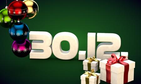 30 12 date calendar gift box christmas tree balls 3d illustration rendering