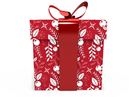 red Gift box with ribbon bow 3d illustration rendering present 版權商用圖片