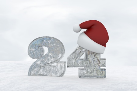 Icy Numbers with christmas hat isolated on white background Number 24