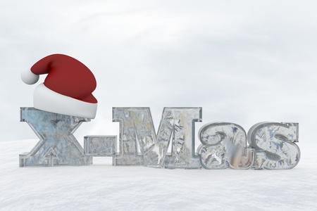 Icy letters with christmas hat isolated on white background X-Mas Stock Photo