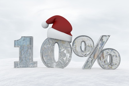 10 percent discount ice number with christmas hat 3d rendering illustration snow 版權商用圖片