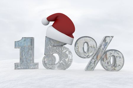 15 percent discount ice number with christmas hat 3d rendering illustration snow