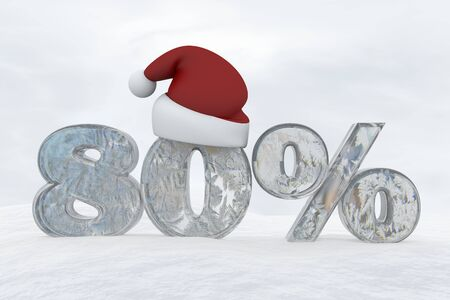 80 percent discount ice number with christmas hat 3d rendering illustration snow