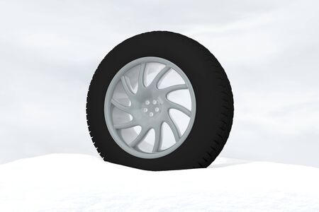 Snow Ice Tire concept 3d rendering illustration wheel