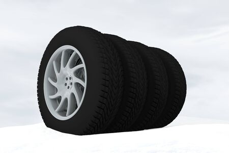 snow tire: Snow Ice Tire concept 3d rendering illustration wheel