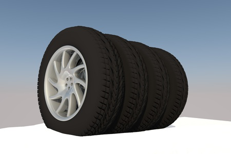 Snow Ice Tire concept 3d rendering illustration wheel