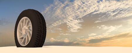 pneu: Snow Ice Tire concept 3d rendering illustration wheel