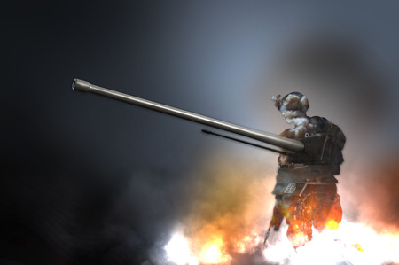 gi: Silhouette of military soldier weapon and tank flames explotion fire smoke illustration Stock Photo