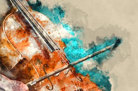 Detalle de una mujer que toca el arte de la pintura del arte del violoncelo
