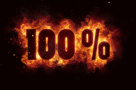 burning 100 percent sign discount offer fire off