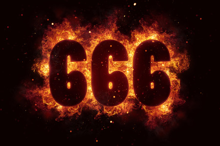 666 Fire Satanic sign gothic style evil esoteric Stock Photo - 74218717