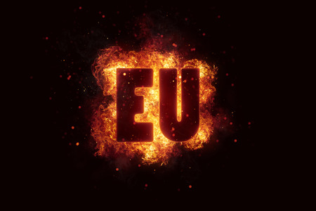 busyness: euro fire flames burn burning text explosion explode Stock Photo