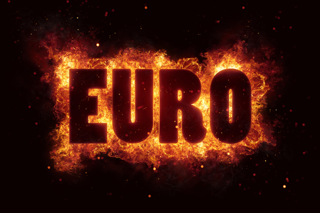 Euro brandvlammen branden brandende tekst explosie exploderen