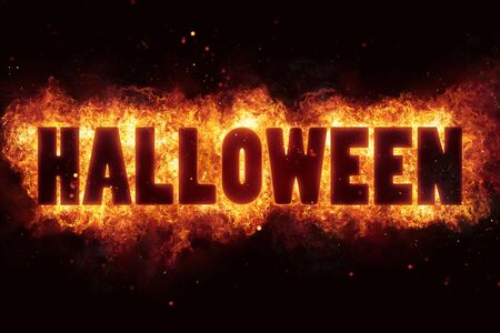 Fire Halloween for horror flame holiday design Stock Photo